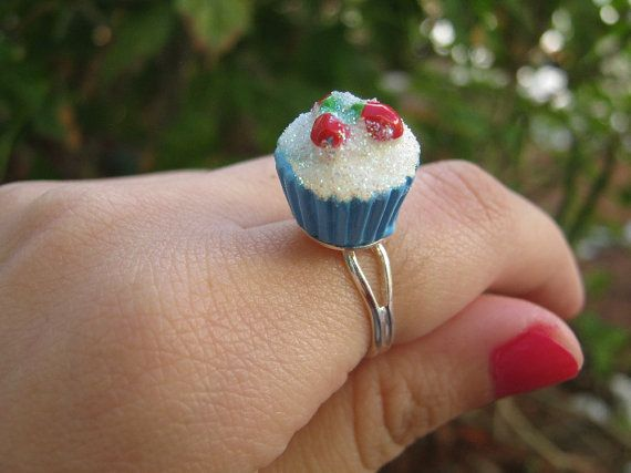 Tiny Cupcake Ring with White Glitter Frosting and by PinkFrog4U, $4.00