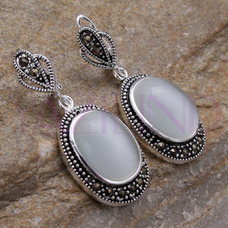 White Quality Opal Cat Eye 925 Sterling Silver Hooks Dangle Earrings $349,97
