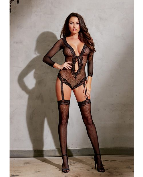 Stretch Fishnet Lng Sleeved Romper W/ribbn Tie Frnt Clsure, Atched Grters & Thighs High Black O/s - PlanetSexShop