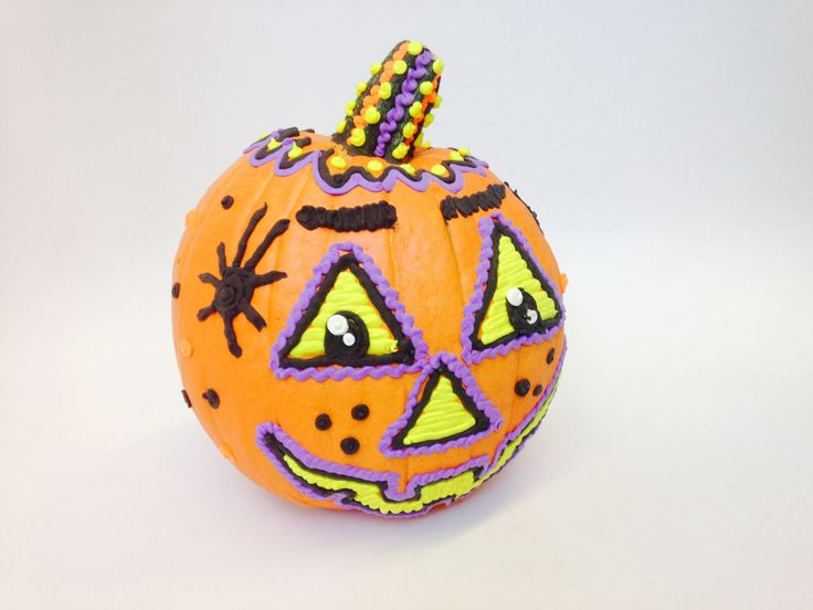A fun new way to decorate pumpkins (this one is a craft pumpkin!)