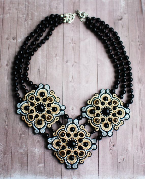 Soutache handmade necklace in black, grey and beige color. This incredible necklace will look great on your neck. It perfectly complements your image. FREE SHIPPING Necklace made in technology soutache with crystal beads, Czech beads, glass pearls. The back side is sewn scin. Lenght - 28 cm (11.02 inch) Width - 18 cm (7.08 inch) Height - 1 cm (0.39 inch) Weight - 140 g (4.93 oz) Necklace can be made to order in any color and size. To this necklace can make earrings or bracelet Pay at...