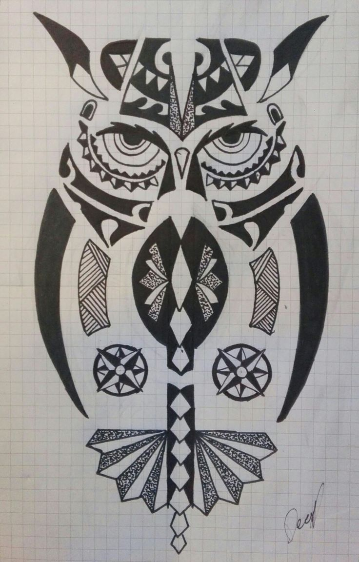 Maori owl, dotwork,compass