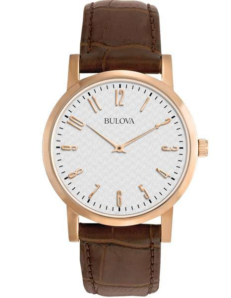 Bulova Mens Duet Dress Watch - Grey Textured Dial - Leather - Rose Gold-Tone