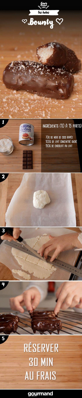 On récapitule:1. Mélangez la noix de coco et le lait puis laissez reposer au frais pendant 2h. 2. Formez une boule avec ce mélange. 3. Placez-la entre deux feuilles de papier sulfurisé et étalez à l'aide d'un rouleau à pâtisserie sur 1cm d'épaisseur. 4. Réalisez des bâtonnets de 5cm de longueur et remettez au frais 1h. 5. Faites fondre le chocolat. 6. Trempez chaque bâtonnet dans ce chocolat et laissez-les s'égoutter sur une grille. 7. Laissez 1h30 à température ambiante et 30 min au frais.
