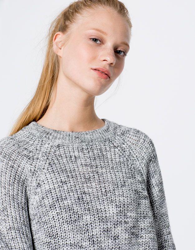 :Geweven trui met ronde hals