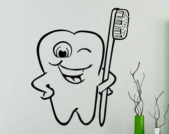 Dental cuidado pared calcomanía dentista vinilo por USAmadeproducts
