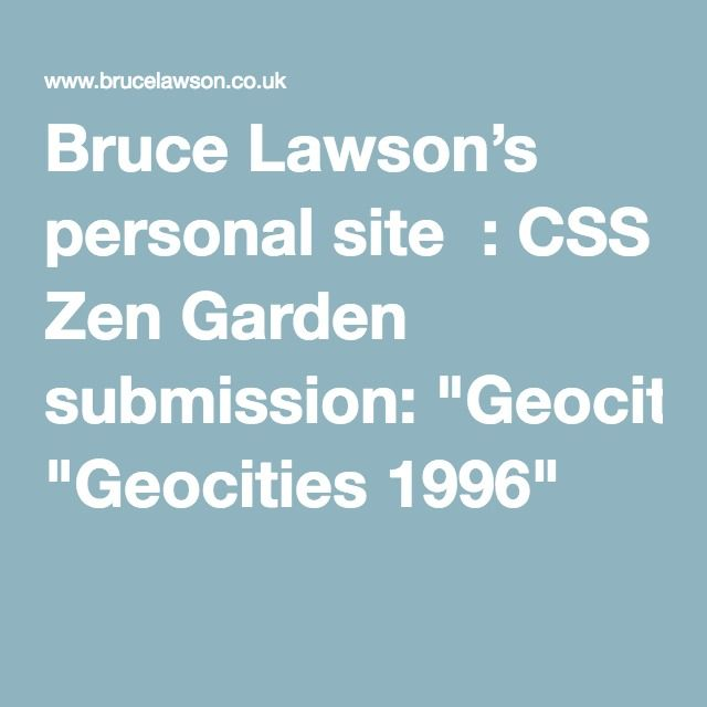 "Bruce Lawson's personal site  : CSS Zen Garden submission: ""Geocities 1996""  Brilliant!"