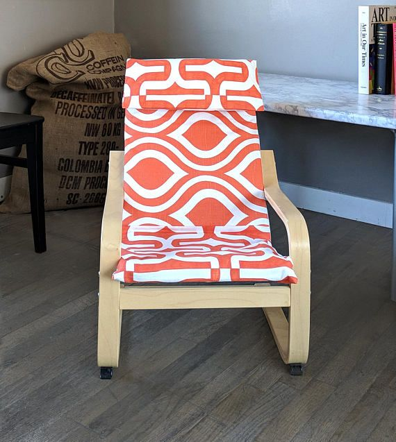 Ikea Orange Chair Covers Leather Club With Ottoman Funky Retro Pattern Poang Cover Slipcovers