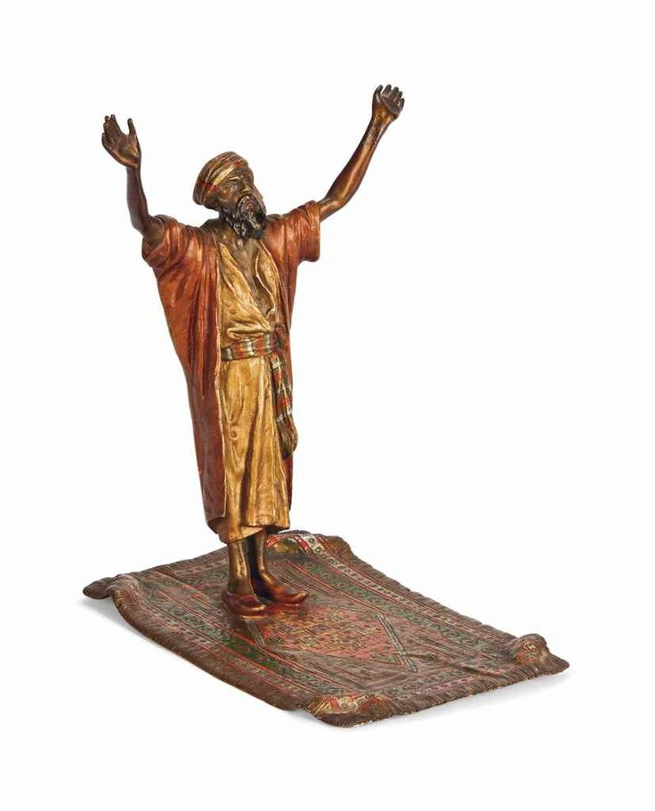 AN AUSTRIAN COLD-PAINTED BRONZE OF A FIGURE AT PRAYER CAST FROM A MODEL BY FRANZ BERGMAN, CIRCA 1900 Price realised  GBP 2,000