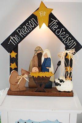 cute light-up wooden nativity
