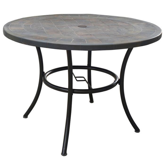 round tile patio table