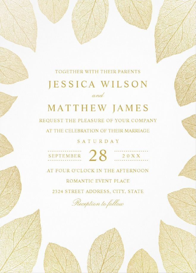 Elegant Wedding Invitations | Gold Leaves Fall Wedding Cards. Romantic autumn style wedding invitations. Feature creative golden effect leaves. #weddinginvitations