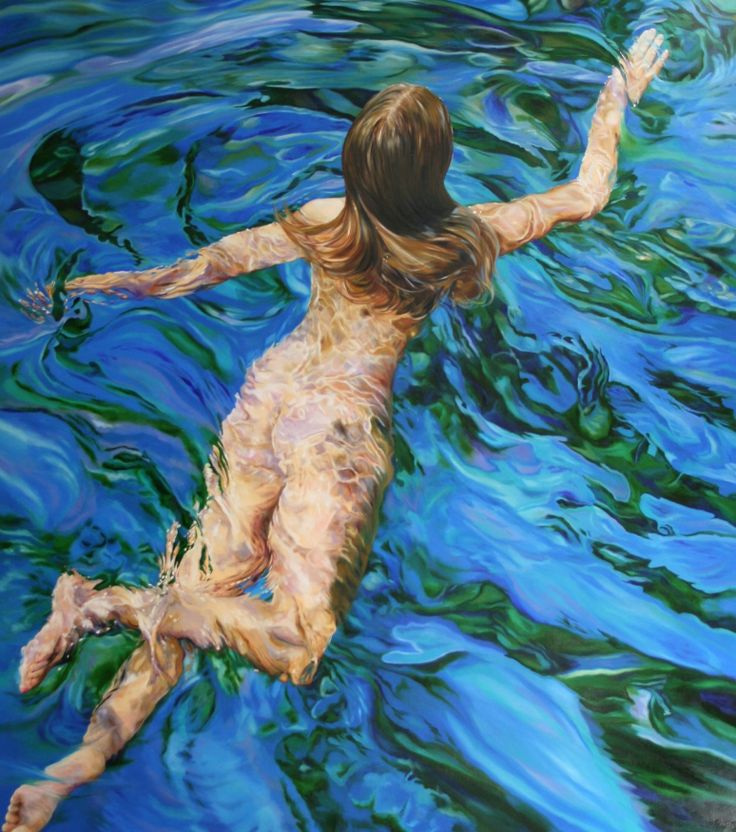 "FINEARTSEEN - LIBERTY VIII by Peter Goodhall. A beautiful original swimming nude painting from Peter's award-winning series ""LIBERTY"". View Peter's new collection, available on FineArtSeen - The Home Of Original Art. << Pin For Later >>"