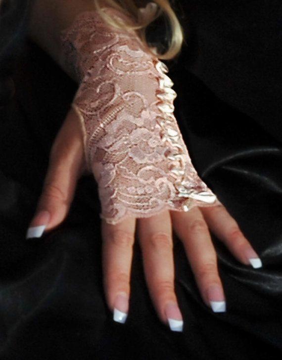 Apricot Lace Fingerless Gloves Lingerie Accessory Faflingerie