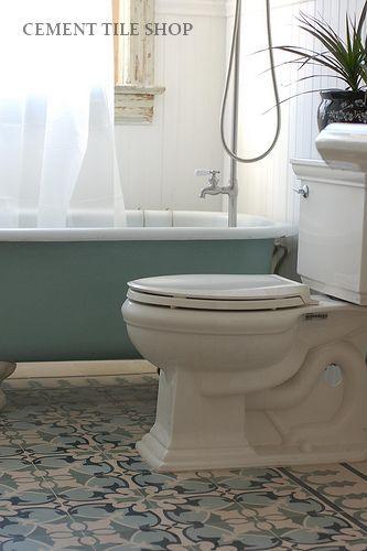 Cement tile shop encaustic cement tile sofia bath for Concrete bathroom floor