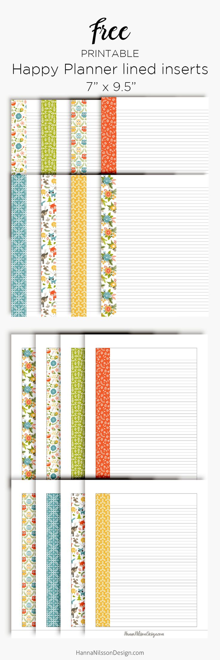 Lined planner inserts | Printables | Happy planner ...