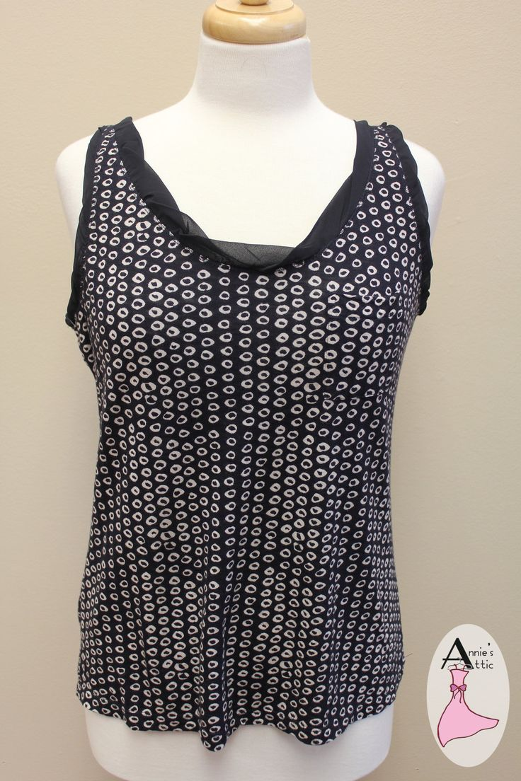 Ann Taylor Loft, size medium Navy print with front pocket and sheer details around the neck and arms $14