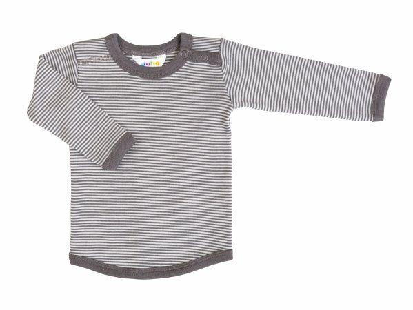 Joha Uld/silke bluse med lange ærmer - Brun stribet str 110