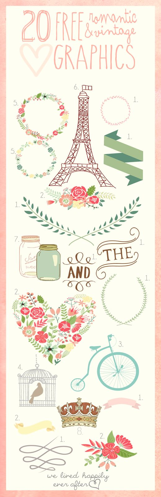 20 Free Romantic & Vintage Graphics Love the colors