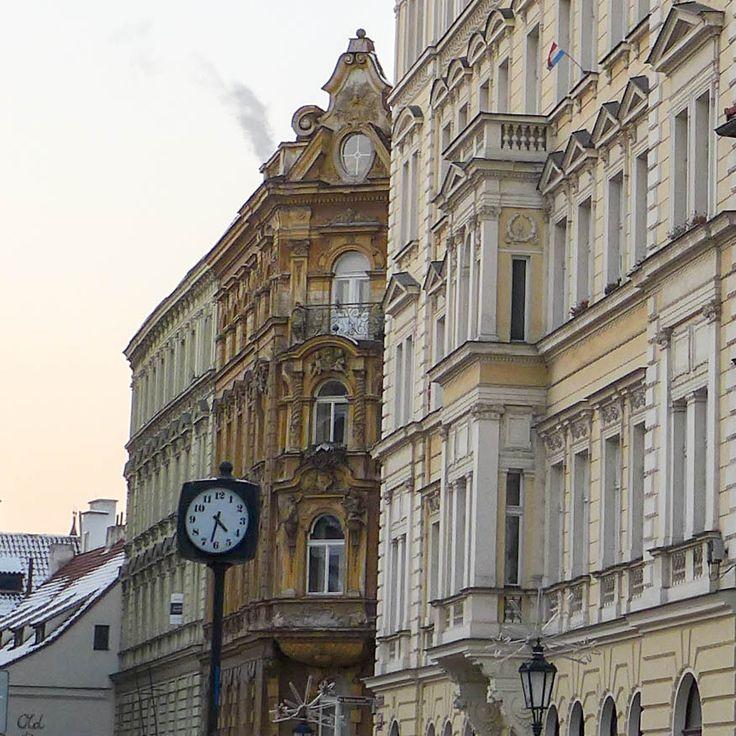 #prague #prag #praha #winter #snow #cold #houses #clock