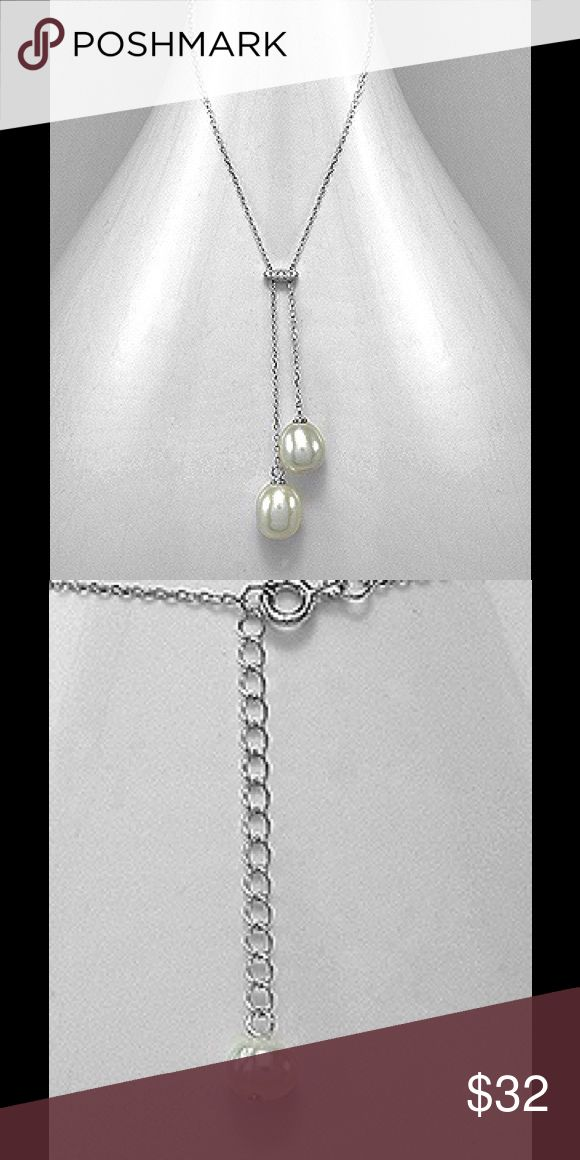 """Sterling Silver Fresh Water Pearl Necklace 925 SS Rhodium plated necklace decorated with  10mm Fresh Water pearls and CZ.  16"""" in length ext to 18"""" Jewelry Necklaces"""