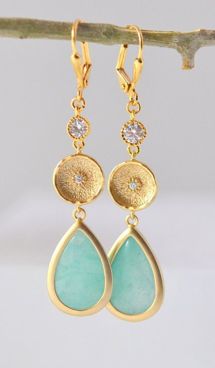 Long Aqua Grayed Jade Dangle Earrings