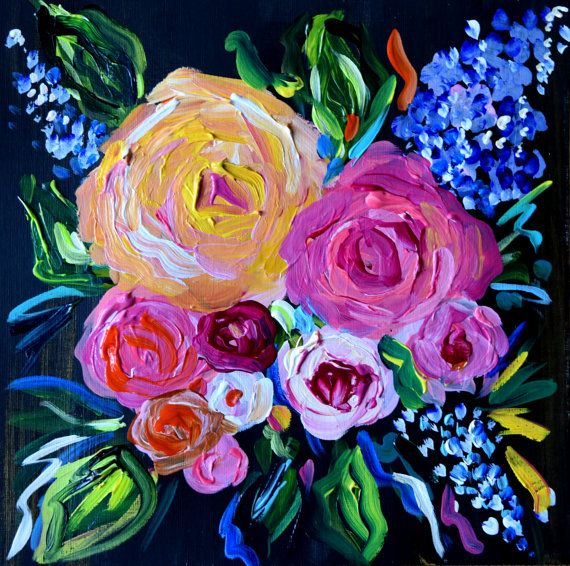 NEW Small Abstract Flower Painting Wedding by CarolynShultzFineArt