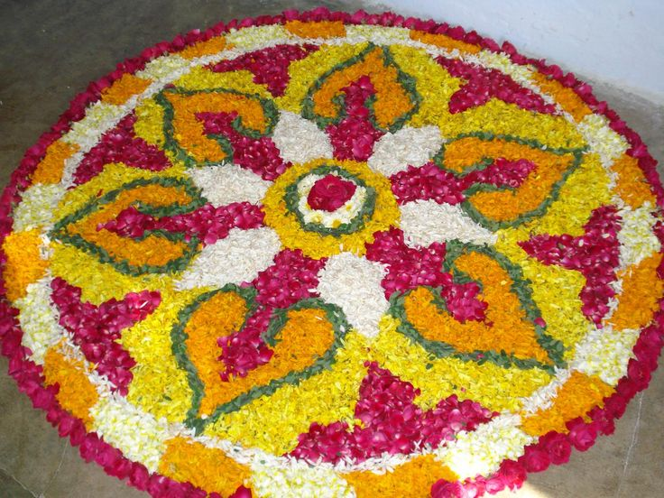 Rangoli design made from flower petals