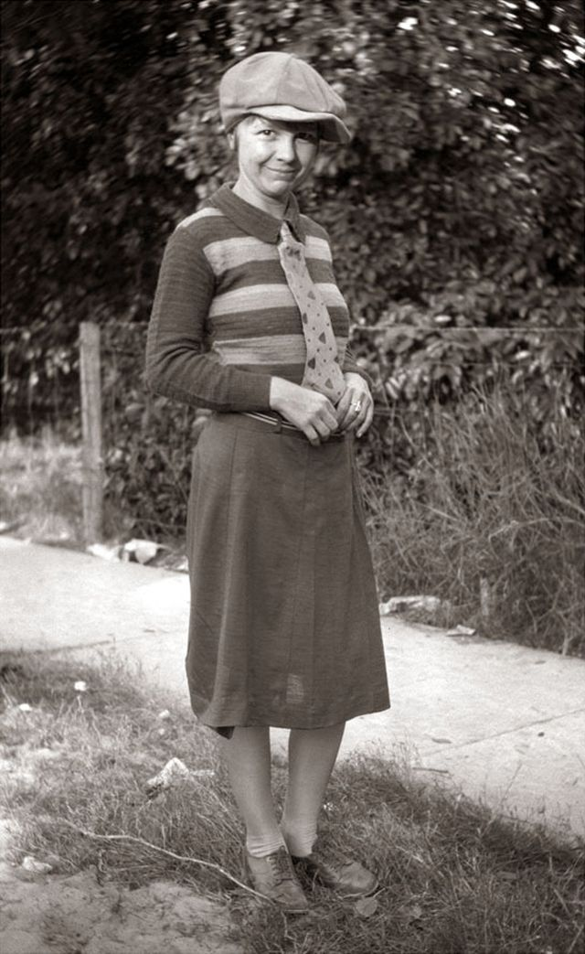 Young girl, 1920s found photo print street style vintage fashion skirt shoes knit sweater tie shirt hat teen bonnie clyde little rascals looks