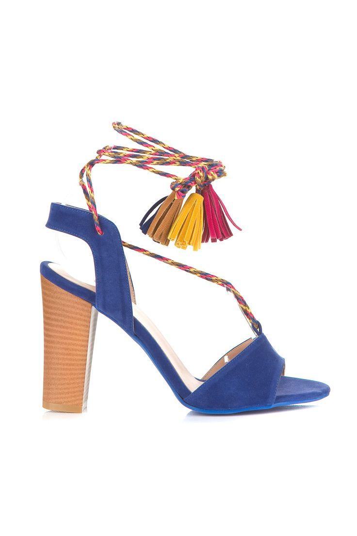 Saks Mavi Süet Topuklu Ayakkabı MLASS165126 TRENDYOLMİLLA   Trendyol