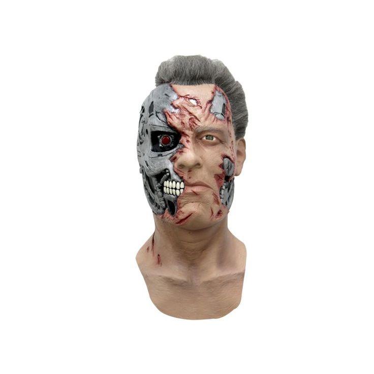 Ce masque en latex est sous licence officielle Terminator Genisys™. Entièrement peint à la main, le masque intégral reprend le visage du célèbre Arnold Schwarzenegger dans le film Terminator avec son côté humain et l'autre robot. Les plaies ouvertes laiss