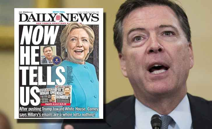 Breaking News, World News, US and Local News - NY Daily News  11/6/2016 Comey/FBI Again Clears Clinton on Emails