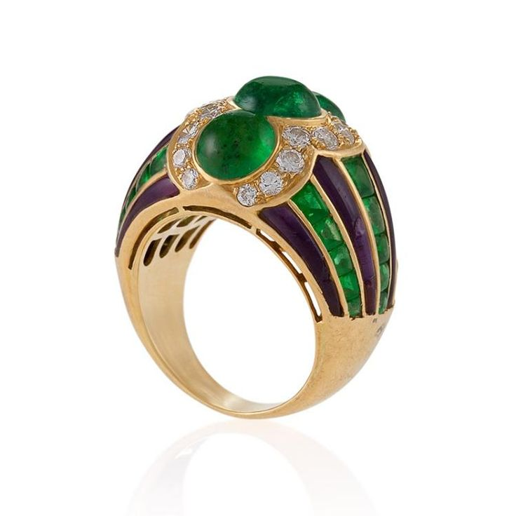 Buy online, view images and see past prices for Bulgari Late-20th Century Emerald Diamond Amethyst and Gold Ring. Invaluable is the world's largest marketplace for art, antiques, and collectibles.