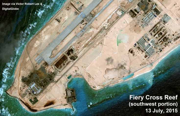 Fiery Cross Reef, southwestern end. Satellite image taken July 13, 2015. Via author Victor Robert Lee. https://medium.com/satellite-image-analysis/fiery-cross-reef-south-china-sea-satellite-image-update-81a29f5835a6