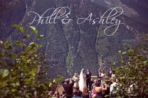 Love on a mountain top!  Wedding guests rode the chair lift up at Panorama Mountain Village to watch the i do's on the mountain top deck.
