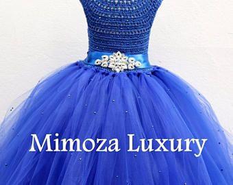 VENTA Azul Royal Deluxe vestido, vestido de diamante de imitación hoja azul pavo real, vestido de Dama de azul real, azul real vestido de la princesa