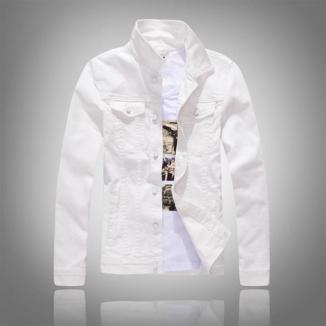 Mens Cotton Jackets Coats Casual Denim Jacket Men Jeans White Black Army Jacket