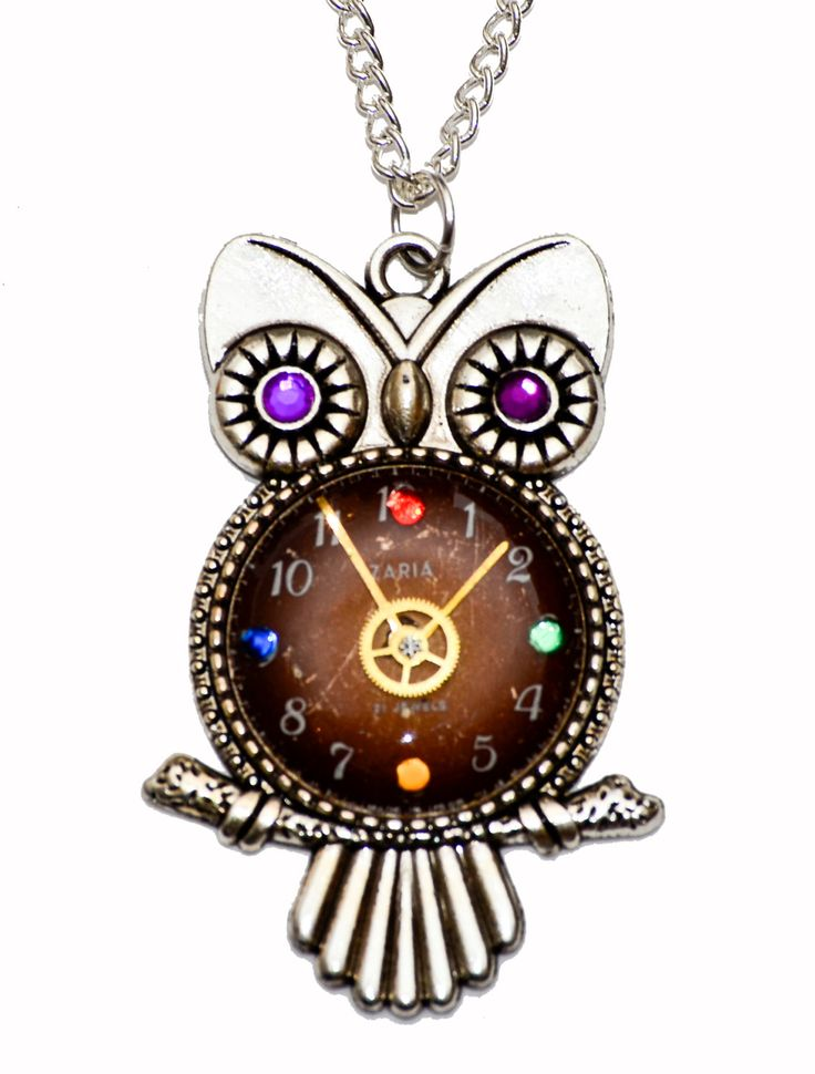 Tibetan Silver Steampunk Watch Face Owl Pendant Necklace. Hand Made in Cornwall, UK by thelongwayround on Etsy