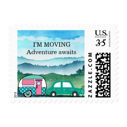 Vintage Teardrop Camper Mountains Address Change Postage - pink gifts style ideas cyo unique