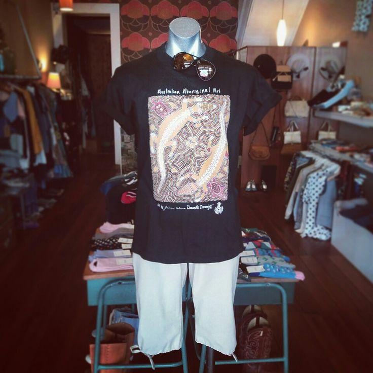 Vintage aboriginal print black tee, vintage blue block aviator sunnies, and Gftd organic cotton shorts