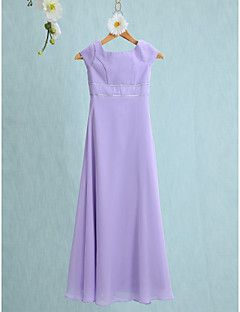 Lanting Bride® Floor-length Chiffon Junior Bridesmaid Dress Sheath / Column Jewel with Buttons – USD $ 62.99