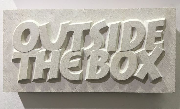 'Think'  Hand carved Raised letting in Portland Limestone  By Zoe Wilson