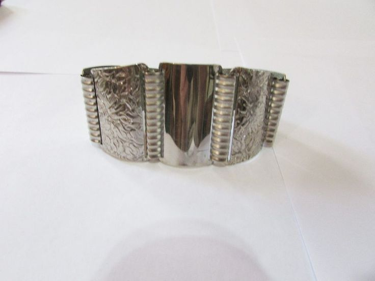 Vintage Signed Emmons Articulated WIDE Tapered Metal Bracelet - 40s Era #Emmons #Articulated40sEra