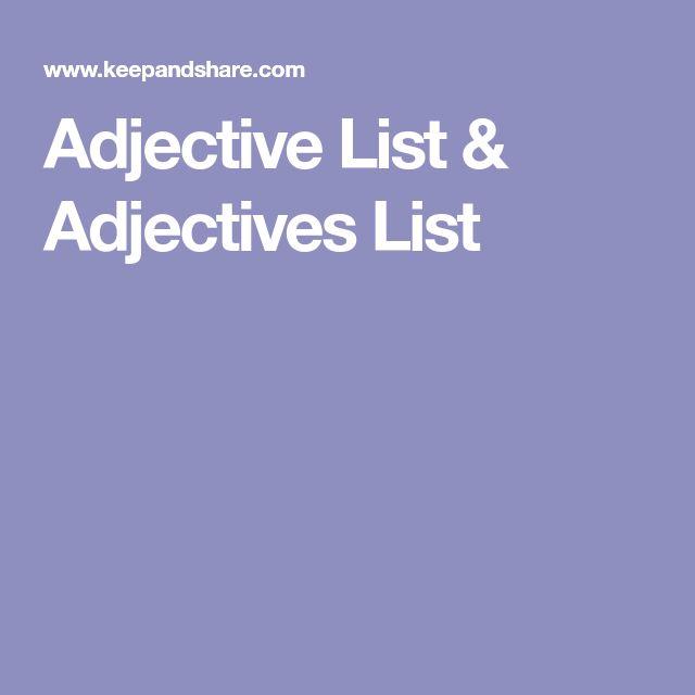 Adjective List & Adjectives List