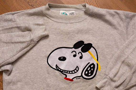 Snoopy Crewneck Sweatshirt, Soft Rayon Tri-Blend, Peanuts Cartoon Character, Vintage 90s, Charles Schulz, Beagle Dog, Blitzz Studios