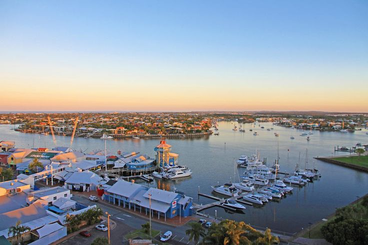 Mooloolaba, QLD - Views over the marina at sunset