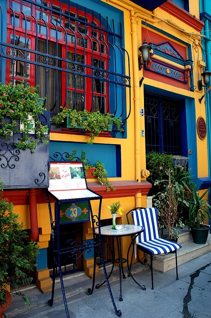 Restaurant in Istanbul, Turkey. Love the colors