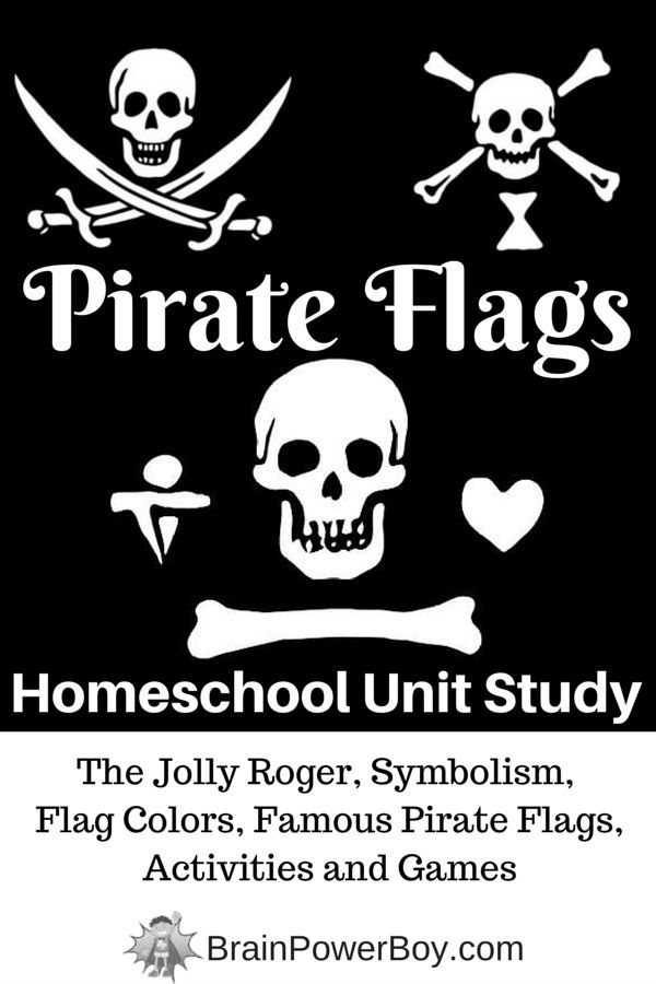 Learn about Pirate Flags! Symbolism, flag colors, famous pirate flags, activities, games and more.