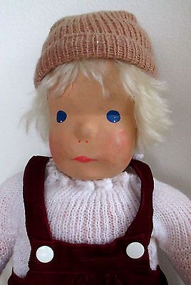 Vintage-Lotte-Sievers-Hahn-Hand-Carved-Oak-Wood-19-034-Doll-Made-in-Germany-Signed