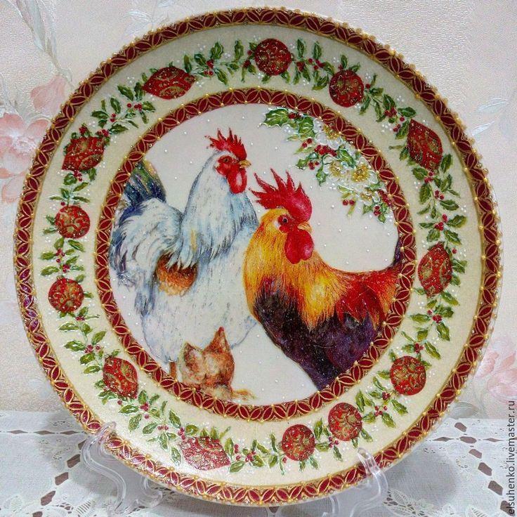 Купить или заказать Тарелка 'Петухи' в интернет-магазине на Ярмарке Мастеров.